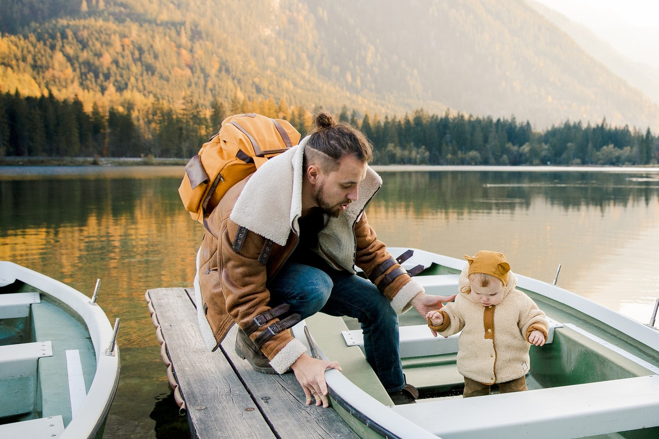 father and child in boat